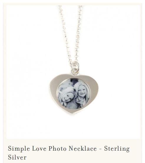 Mother's day silver photo heart necklace